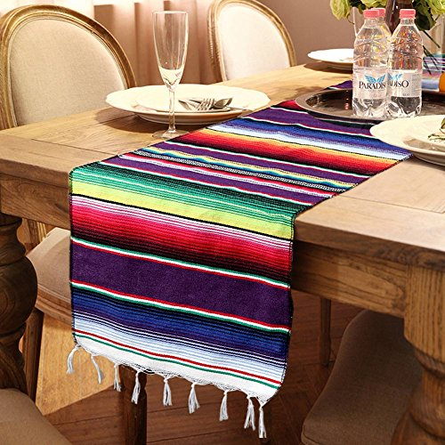OurWarm 14 x 84 inch Mexican Serape Table Runner for Mexican Party Wedding Decorations, Fringe Cotton Table Runner]()