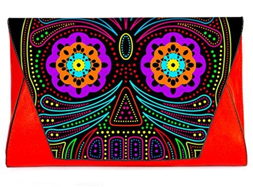 Dead Handbags Day Bag of Pattern Sugar Clutch Skull Fashion Sugar Colorful Envelope Bags14 Clutch with Female Leather the 0q8xXn4v