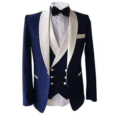 00060f3c1783 Allthemen Herren 3 Teilig Schalkragen Anzug Party Sakko Hochzeit Smoking  Blau XX-Large  Amazon.de  Bekleidung