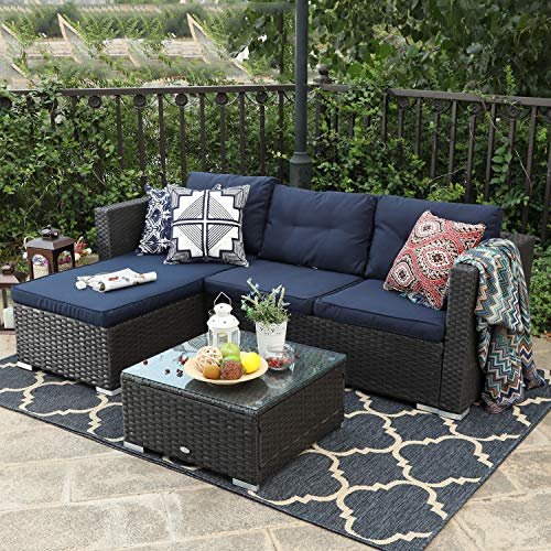 PHI VILLA Patio Sectional Wicker Rattan Outdoor Furniture Sofa Set with Upgrade Rattan(3-Piece, Blue)