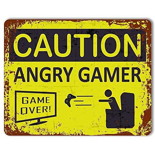注意怒っているゲーマーゲーミングティーンエイジャー 金属板ブリキ看板注意サイン情報サイン金属安全サイン警告サイン表示パネル