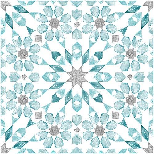 FloorPops FP2949 Radiance Peel & Stick Floor Tile, - Tile Flooring Aqua