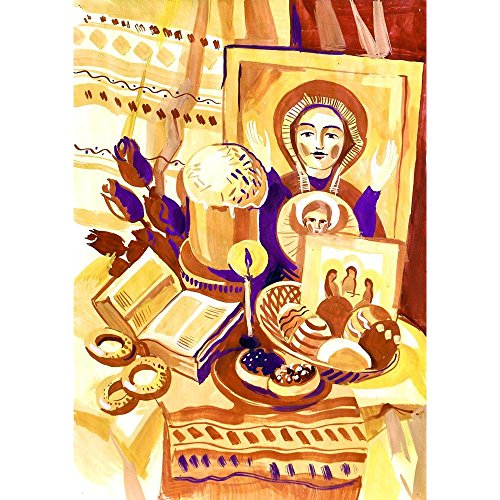Pitaara Box PB Easter Still Life with an Icon Peel & Stick Vinyl Wall Sticker 16 x 22.6inch (Icon Unframed)