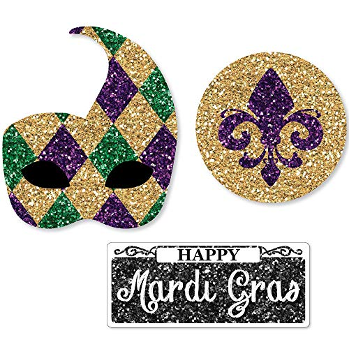 Diy Mardi Gras Beads (Big Dot of Happiness Mardi Gras - DIY Shaped Masquerade Party Cut-Outs - 24)