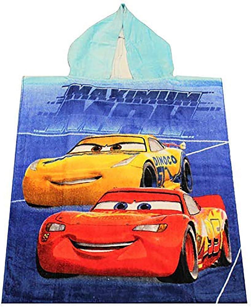 50 x 115 cm 100/% Baumwolle Cars Disney Pixar Poncho Badeponcho mit Kapuze Miximum MPH blau f/ür Kinder