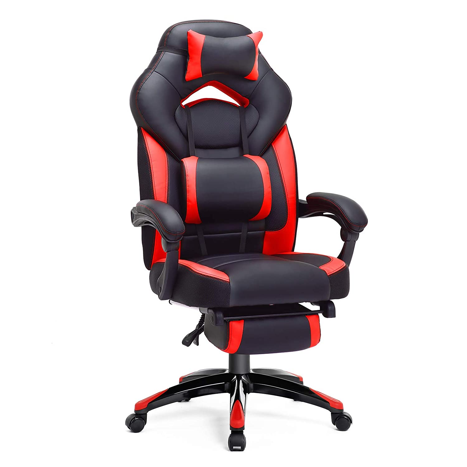 SONGMICS Office Ergonomic Executive Gaming Swivel Chair with Foldable Pull-Out Footrest, Racing Style, Extra Large, Black Red,