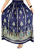 OMA Women's Sequined Broomstick Hippy Gypsy Bohemian Long Skirt - Premium Quality Brand (Blue)