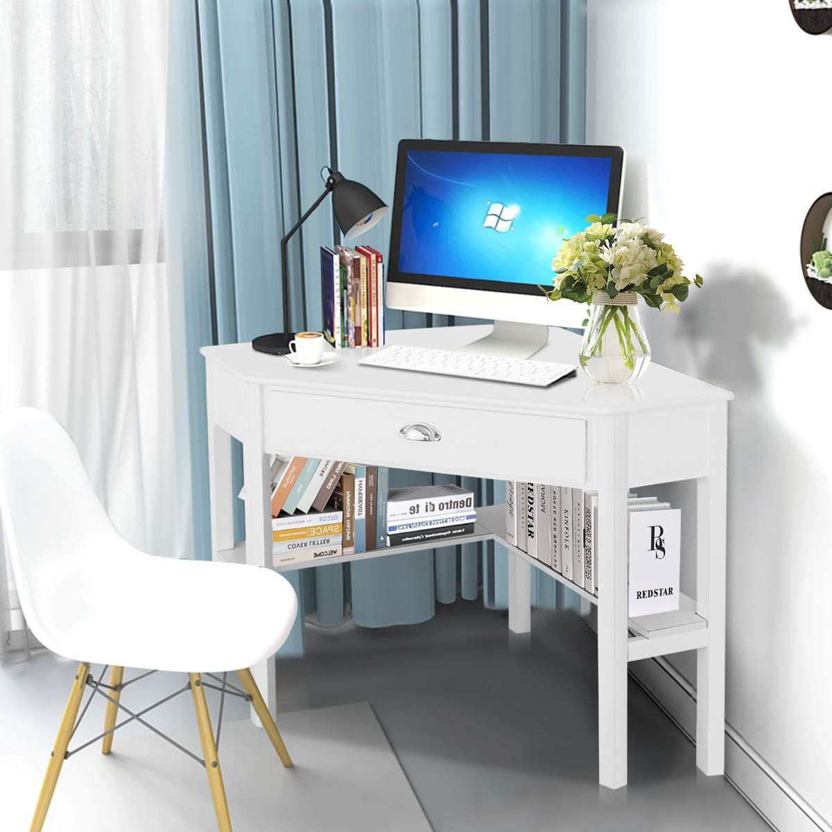 Tangkula Corner Desk, Corner Computer Desk, Wood Compact Home Office Desk, Laptop PC Table Writing Study Table, Workstation with Storage Drawer Shelves