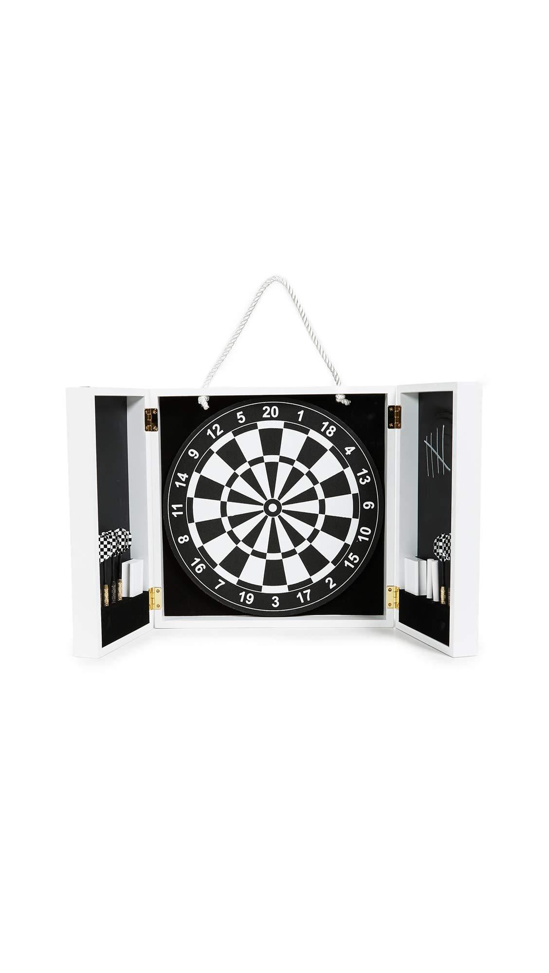 Jonathan Adler Men's Op Art Dartboard Set, Black/White, One Size