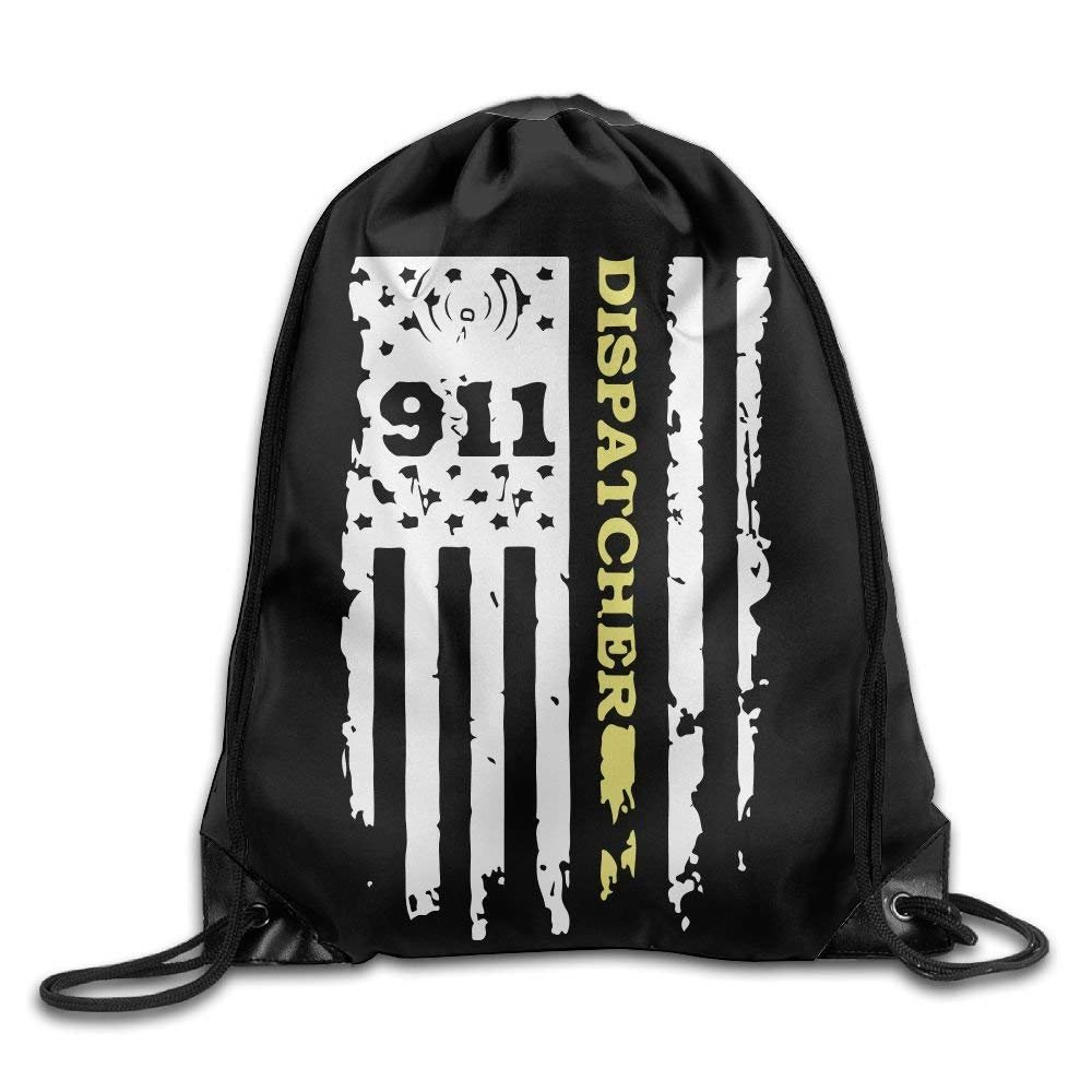 911 Dispatcher Thin Gold Line Drawstring Pack Beam Mouth School Travel Backpack Rucksack Shoulder Bags For Men And Women