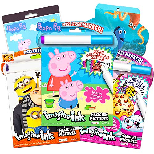 Peppa Pig Imagine Ink Coloring Book Super Set -- 3 No Mess Magic Ink Activity Books Featuring Peppa Pig, Despicable Me Minions, and Shopkins with over 400 Stickers (Mess-Free Coloring Books)