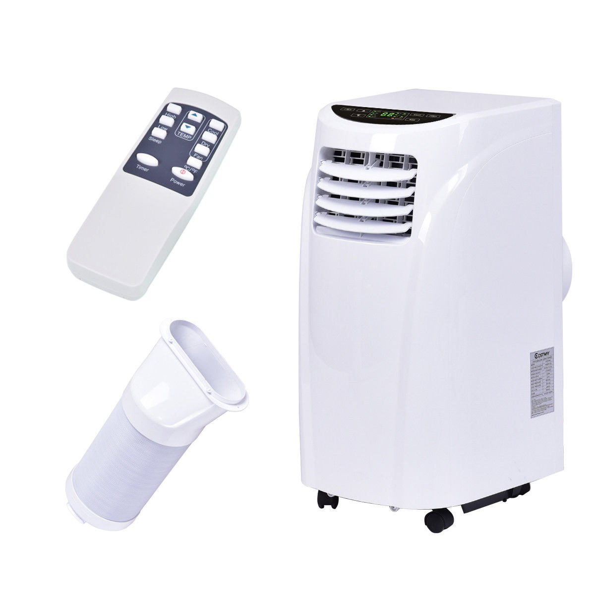 Costway 10,000 BTU Portable Air Conditioner with Remote Control Dehumidifier Function Window Wall Mount in White