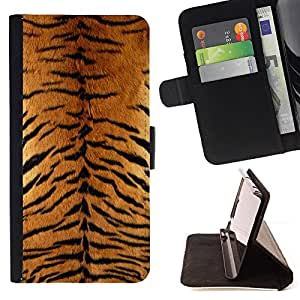 DEVIL CASE - FOR Sony Xperia M2 - Tiger Furry Pattern Animal Wild Big Cat - Style PU Leather Case Wallet Flip Stand Flap Closure Cover
