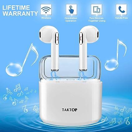 Auriculares Inalámbricos Bluetooth, Mini In Ear Auriculares Bluetooth Sonido Estéreo con Caja de Carga Micrófono