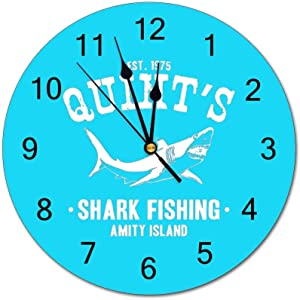 Tian Smile Shark Fishing Jaws 10 inch Wall Clock, Silent, Graduated Battery Power, Suitable for Home Office and School use