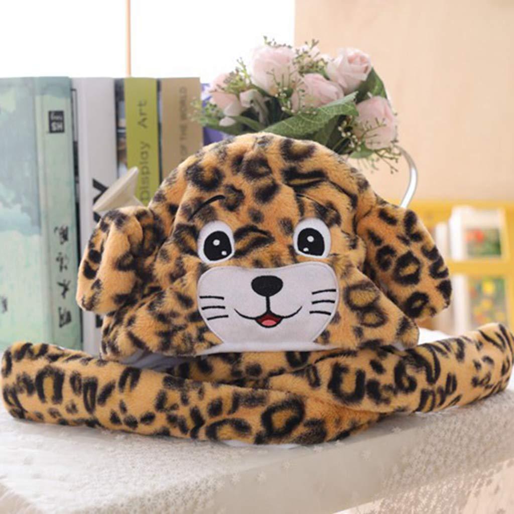 Sharplace Cappuccio di Peluche di Leopardo con Orecchie Mobili Paraorecchie per Bambini Adulti