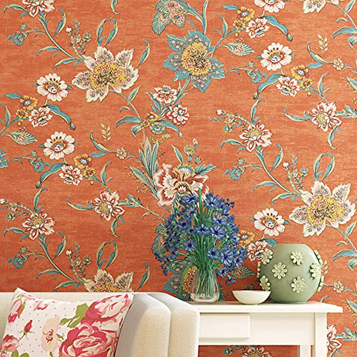 Orange Vintage Floral Contact Paper Retro 70s Country Peel and Stick Flower Wallpaper for Kitchen Backsplash Bedroom Wall Decor 20.83