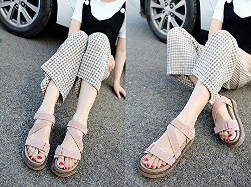Femmes de Noir 34 Abricot Taille 43 Pantoufles Plat Mode Talons Chaussures Romain DANDANJIE Apricot et Ouvert Kaki Tongs Velcro Givré Style Grande Sandales Bout Sq5WxwzA