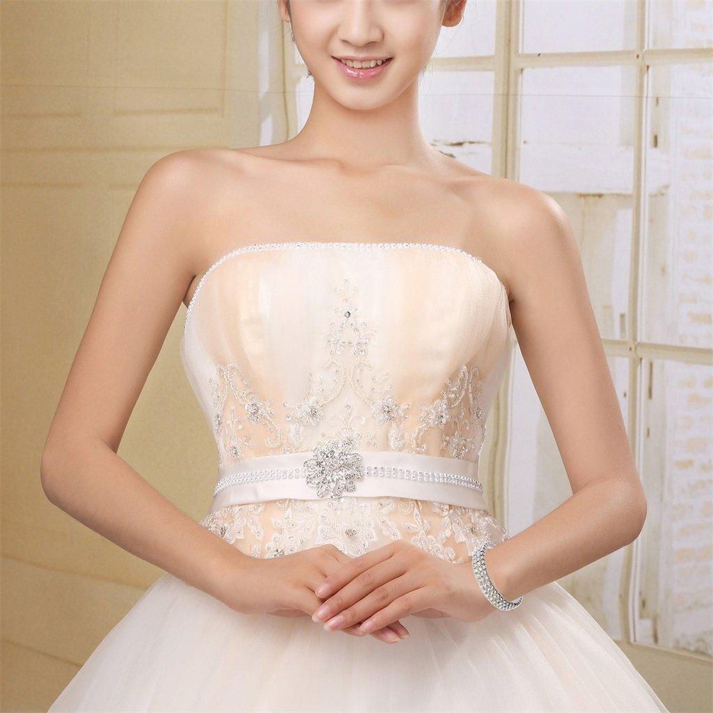 JEWMAY Yumei Jewelry 3 Strand Rhinestone Stretch Bracelet Tennis Bracelet Sparkling Bridal Bangle Anklet YMXH000L2