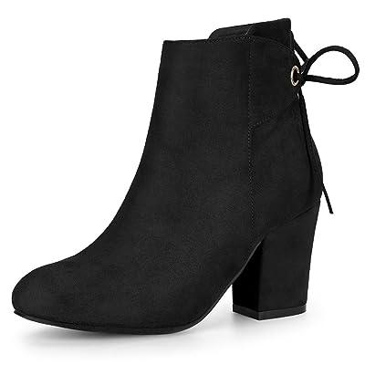 Allegra K Women's Round Toe Block Heel Zipper Lace Up Ankle Boots | Ankle & Bootie