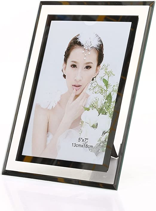5x7 Inch Mirror Mirrored Photo Picture Image Frame Home Display With Butterfly
