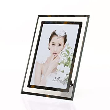 Amazoncom 5x7 Inch Glass Picture Frame For Home Decor Horizontal