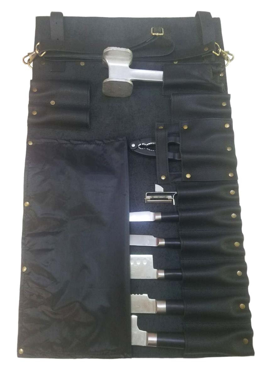 Professional Chef Lightweight Genuine Premium Black Leather 11 Pockets Chef Knife Bag/Chef Knife Roll #K1-11