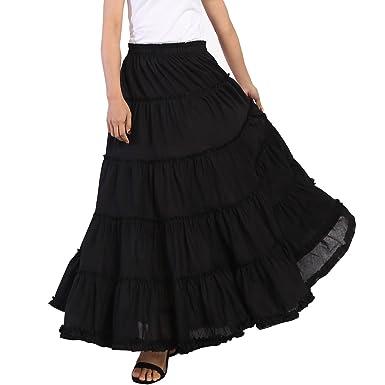 26fe66a6327 Vateno Gypsy Pleated Skirt Women Long Boho Maxi Skirts Spain Belly Dance  Skirts White Black Red