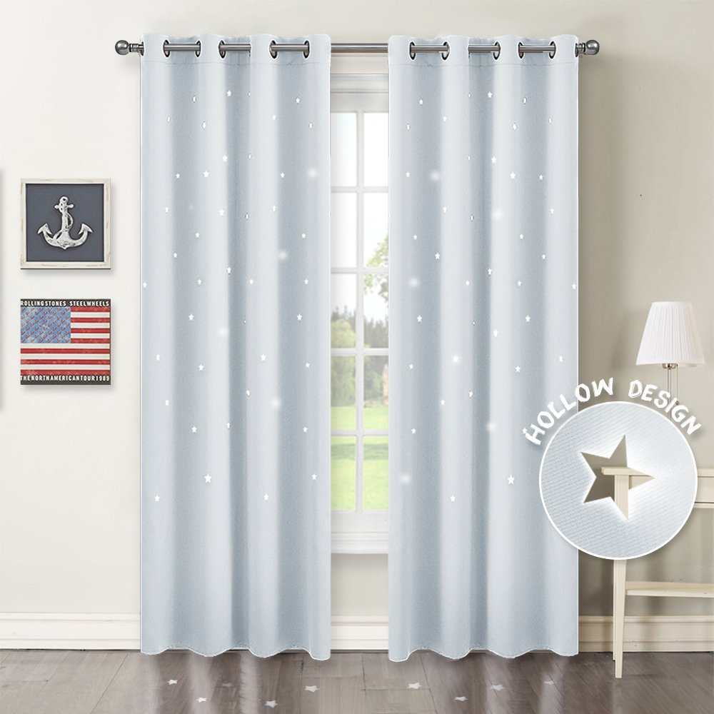 PONY DANCE White Star Curtains - Home Decor Grommet Top Thermal Insulated Laser Cutting Stars Design Panels/Drapes/Window Treatments for Boy's Room, 52 Wide by 84 inch Long, Greyish White, 2 Pcs by PONY DANCE