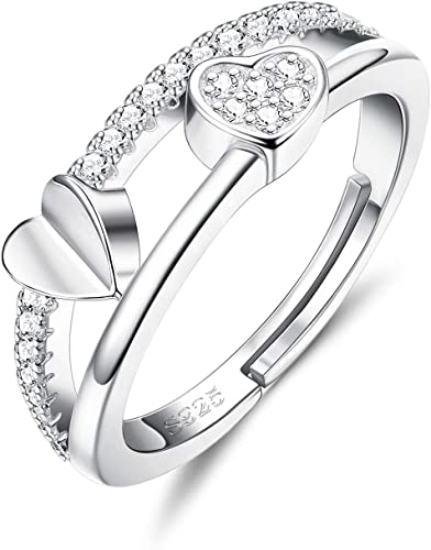 Thumb Rings Band Womens Girl Adjustable 925 Silver Gift Heart Jewellery