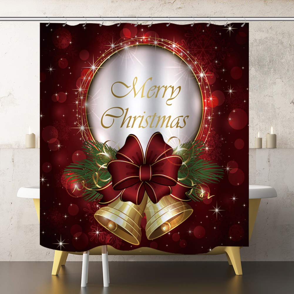71x71inch Provone 3D Christmas Bell Curtains Bath Curtains Christmas Curtain Panel for Bathroom//Living Room//Study