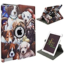 Xtra-Funky Range PU Leather 360 Degree Rotating Smart Case For Apple iPad Air 2 (iPad 6) with Auto Wake / Sleep Function + Screen Protector and Soft Tipped Stylus - Dogs