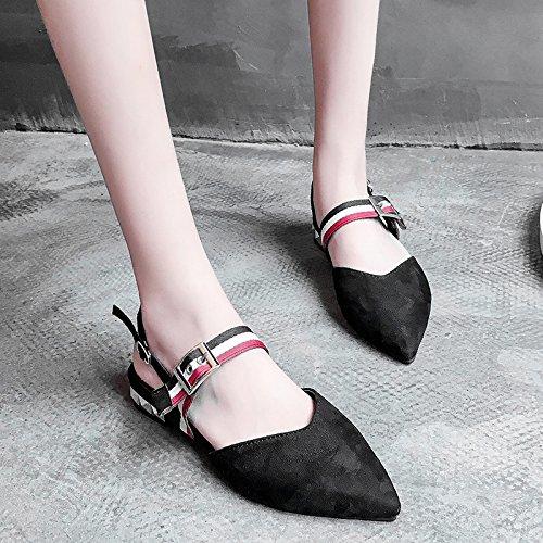 Mujer Moda salvaje hebilla zapatos Casual hueca plana Black de Verano sandalias UE mujer RUGAI 081Xpp