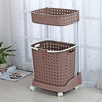 Cesta para la colada cesto de la ropa sucia doble mano empuje toalla rack marrón: Amazon.es: Hogar