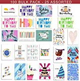 100 Birthday Cards Bulk 25 Assorted Happy Birthday Cards, Birthday Greeting Cards Box Set with Envelopes and Seals, 4 x 6 inches Blank on the Inside