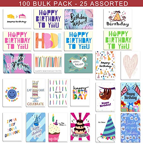100 Birthday Cards Bulk 25 Assorted Happy Birthday Cards, Birthday Greeting Cards Box Set with Envelopes and Seals, 4 x 6 inches Blank on the ()