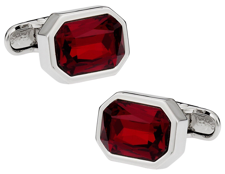 Cuff-Daddy Shimmering Crystal Siam Red Cufflinks
