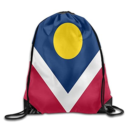 Daisylove Bandera de Denver Personalizada Gimnasio con cordón Bolsas de Viaje Mochila Tote Mochila Escolar