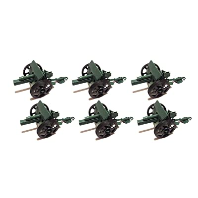 6 Pcs Army Green Cannons with Moving wheels (4 Inches)