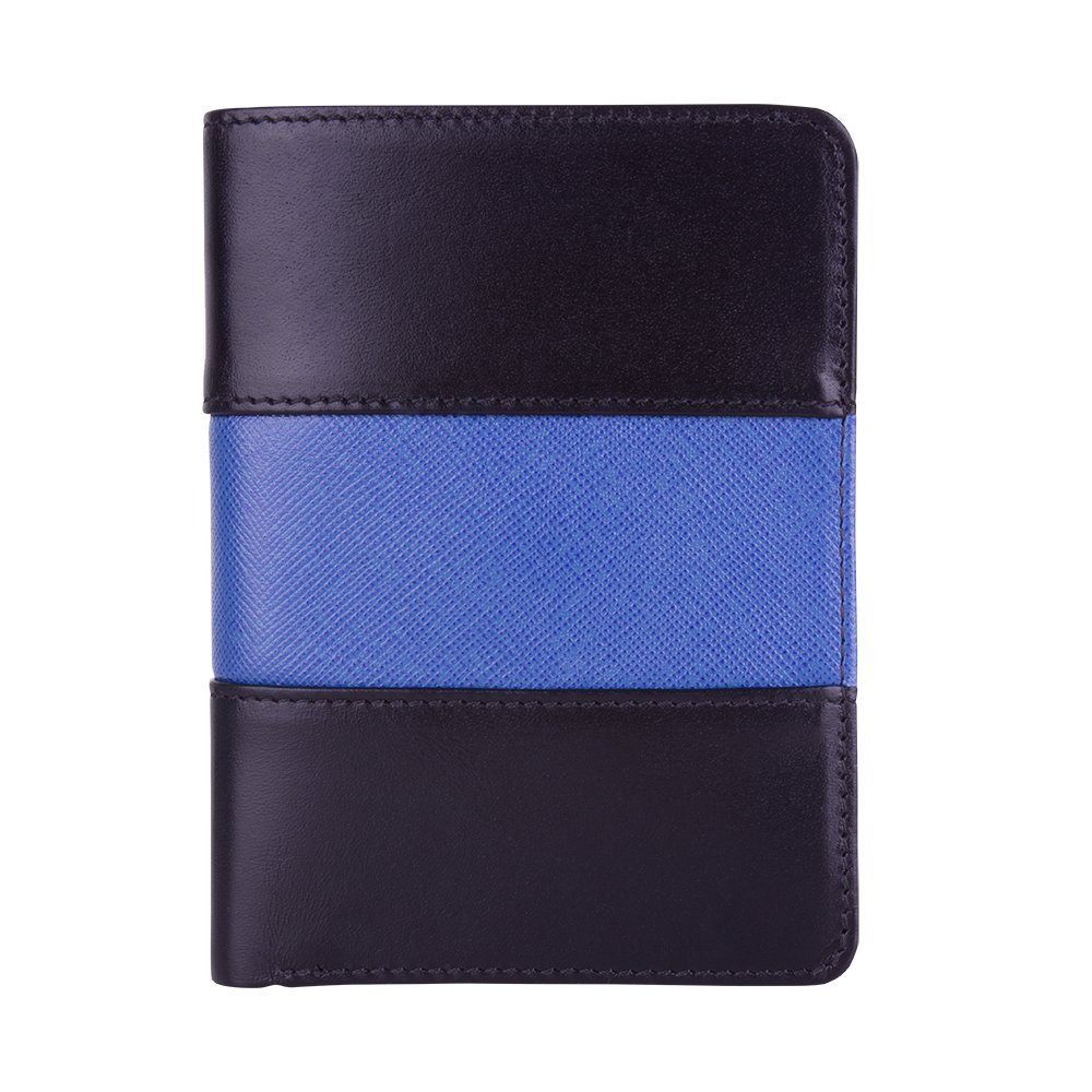 Police Badge Wallet, All Leather, Fits Any Shape Badge with Pin Back - Black Leather with Thin Blue Line