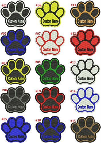Personalized Custom Dog Name Paw Embroidered (Sew Iron) on Patch Tag