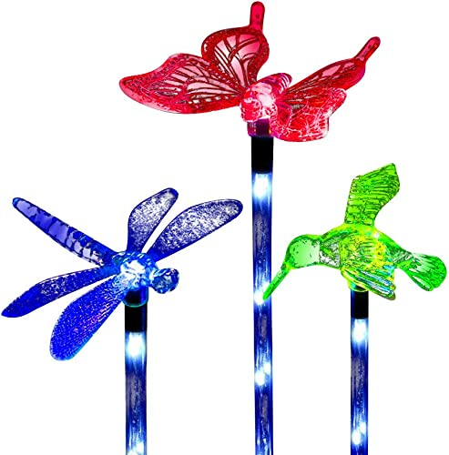 Sooreally Garden Solar Lights Outdoor, 3 Pack Solar Stake Multi Color Changing LED Lights, Fiber Optic Solar Butterfly Hummingbird Dragonfly Decorative Lights for Yard Lawn