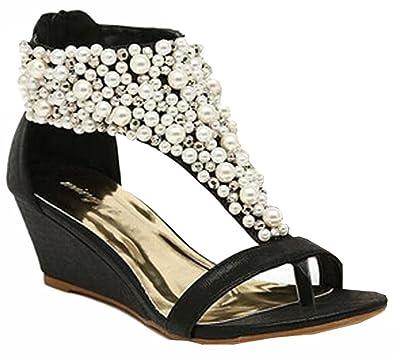 b5b17256b91e 2015 summer Rhinestone zipper pearl beaded high heels gold black wedges sandals  women shoes  Amazon.co.uk  Shoes   Bags