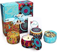 Yinuo Mirror Scented Candles Gift Set, Natural Soy Wax 4.4 Oz Portable Travel Tin Candles Women Gift with Stro