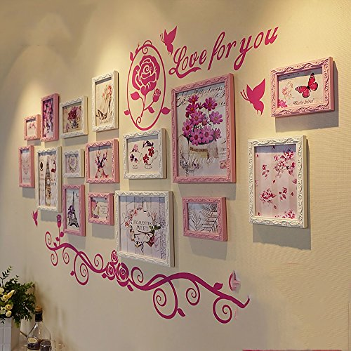 16 box photo wall European solid wood photo wall photo frame creative combination decorative painting background wall ( Color : Pink and White ) by Hongyu