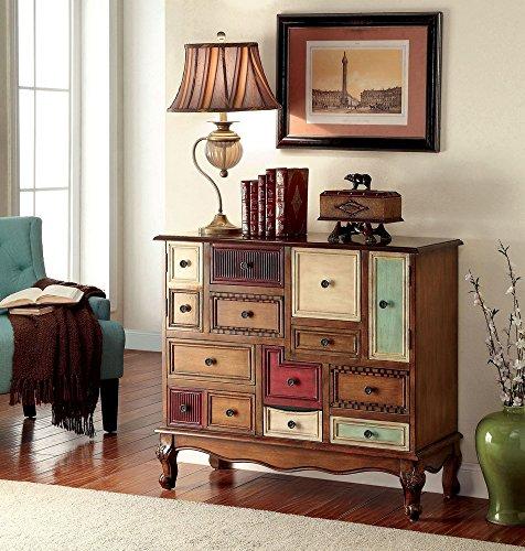 Furniture of America CM-AC149 Desree Antique Walnut Colorful Chest Drawer Walnut Antique Dresser