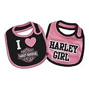 Harley-Davidson Baby Girls' Bibs, Bar & Shield 2 Pack Set, Black/Pink 7009505