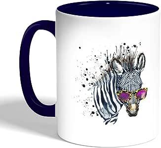 كوب سيراميك للقهوة بتصميم رسمة حمار وحشي كول ، لون ازرق