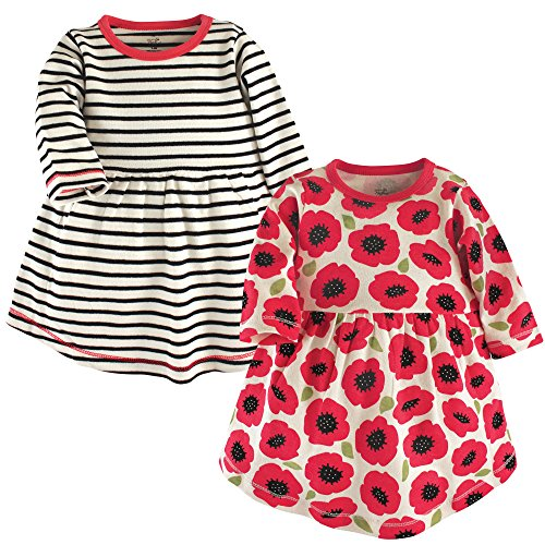 Touched by Nature Long Sleeve Organic Cotton Dress, 2 Pack, Poppy Flowers, 3T ()