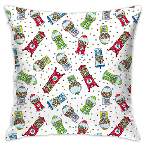 Cute Cartoon Gumball Machines Decorative Square Throw Pillow Covers 17.7 x 17.7 Inch 45 x 45 cm ()